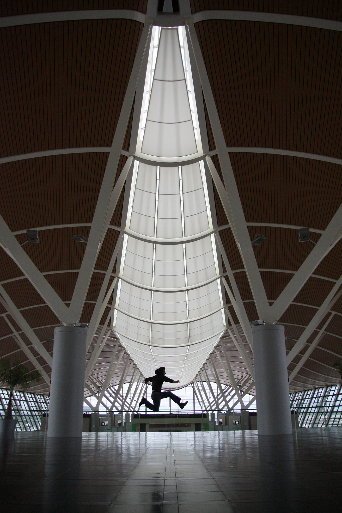Airport_Art_Patrick_Jump_01.jpg - Airport Shanghai: Big, modern and empty... Another tradtional Chinese jump-pciture.